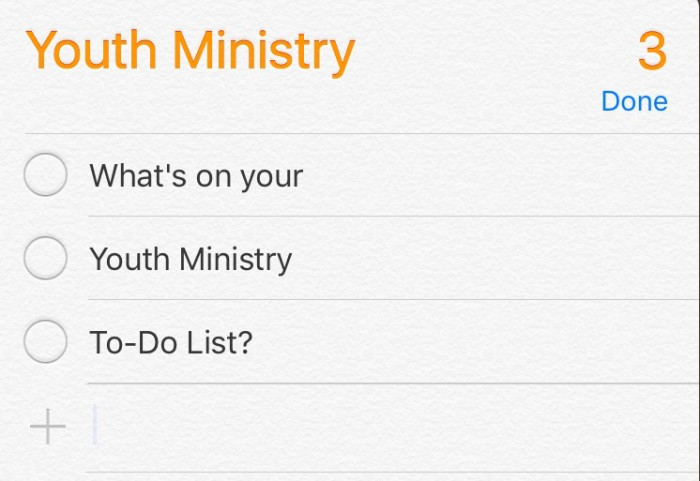 Youth Ministry To-Do List